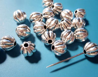 Antique Silver Beads | Fluted Round Beads | 7mm Round Melon Beads | Antique Silver Metal Beads MB1135 F17