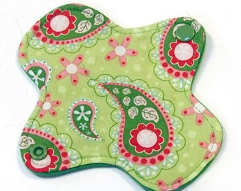"6"" Ultrathin Reusable Cloth Pantyliner - winged - Quilter's Cotton top - Green Paisley"
