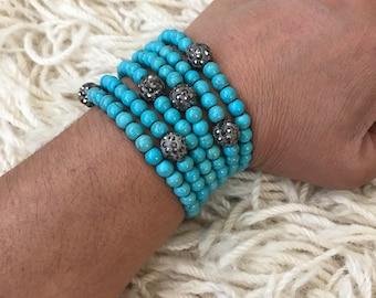 Turquoise Bead Crystal Bracelet