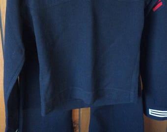NAVY SAILOR UNIFORM vintage, bell bottoms, button fly, dress blues, costume, theater prop