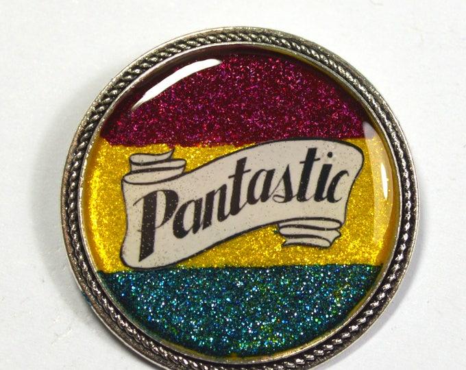 Pantastic Pansexual Pride Pan Queer Glitter Resin Brooch