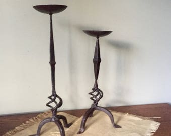 Vintage hand forged pair of candleholders candlesticks - twisted base - black iron
