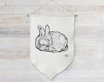Linen wall hanging of a woodland animal for baby girl or boy nursery decor, kids room wall art, kids gift- Sleeping Bunny Rabbit #2