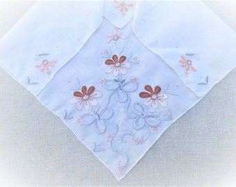 Vintage Madeira Handkerchief Hand Embroidered Floral Ribbons Bows Applique Embroidery Bridal Gift Wedding Hankie Brown Hanky Vintage Linens