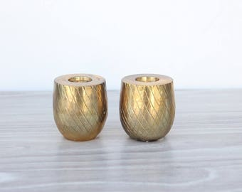 Brass Pineapple Base Candleholders (Set of 2)