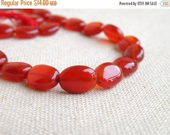 Deep Discount Sale Red Onyx Gemstone Smooth Oval Nugget 9 to 10mm 1/2 Strand 17 beads