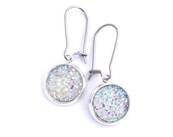 Crystal Clear Faux Druzy Earrings Stainless Steel Kidney Earwires