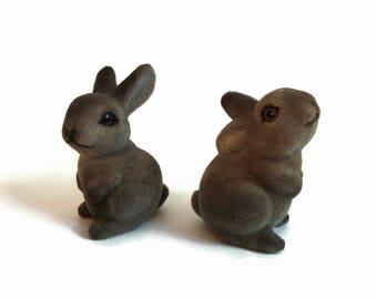 Flocked Fuzzy Rabbits (possibly Josef Originals)