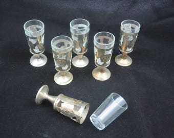 Silver Overlay Cordial Glasses - Set of Six Pedestal Shot Glasses Mexican