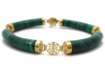 Malachite Bracelet - 14k Gold Chinese Links Fine Jewelry