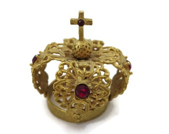 Gold Filigree Crown - Santos or Doll Miniature Crown Red Rhinestones