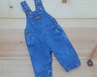 Vintage Baby Overalls  // Vtg 80s OSH KOSH Made in the USA Distressed Denim Infant Bibs // size 3 6 9 mos