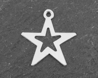 Sterling Silver Open Star Charm 16mm (CG10042)