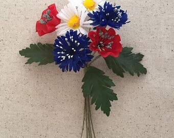Vintage Flowers Mixed Bundle of Bavarian Millinery Wildflowers ~ Vintage East Germany ~ Old Store Stock  VAT017-MX