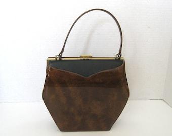Vintage Vinyl Brown and Black Top Handle Purse Handbag