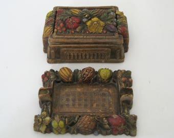 Vintage Syroco Wood Fruit & Floral Cigarette Box Holder Ashtray