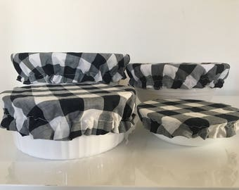 Black White Gingham Reusable Eco-Friendly Fabric Picnic Food Bowl Covers Lids (Set of 4)
