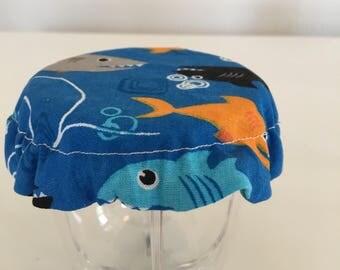 Children Reusable Elastic Drink Cup Glass Cloth Coaster Cover Ocean Shark Fabric