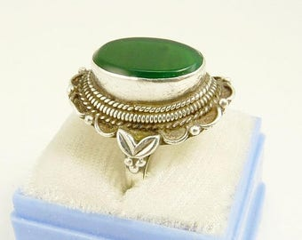 Vintage Sterling 925 Chrysoprase Ring Southwestern Style Statement Ring