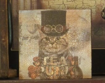 Wood Plaque Steam Punk Tabby Cat with Top Hat/glasses