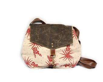 satchel • waxed canvas crossbody bag - succulent floral print • hand printed mustard canvas - pink yucca print - brown waxed canvas