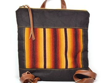 bucket backpack • canvas backpack - honduran textile • woven stripe - black waxed canvas - honduras - red and yellow • gifts under 100