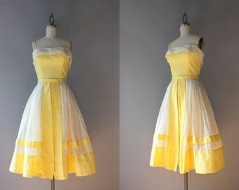 Vintage 50s Dress / 1950s Dotted Swiss and Organdy Peggy Hunt Sundress / 50s Sunny Yellow Sundress XS extra small