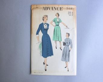 1950s Dress Pattern / Vintage 50s Peter Pan Collar Dress Pattern / Uncut Advance Sewing Pattern 5681 size 16 34 bust FF factory fold