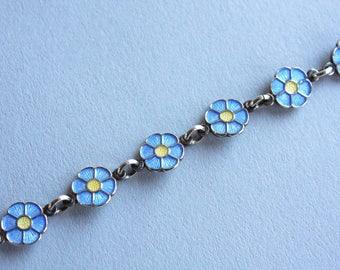 Vintage Volmer Bahner Enamel Flower Bracelet / 1960s Danish Guilloche Enamel Sterling Bracelet / Blue Daisy VB Denmark Sterling Bracelet