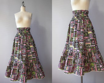 1940s Skirt / Vintage 40s Printed Cotton Skirt / 1940s Full Dirndl Skirt Modernist Print M L medium large