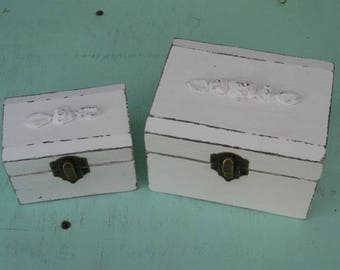 """Cream """"Shabby Chic"""" Wooden Jewelry Box + Small One As A Gift"""