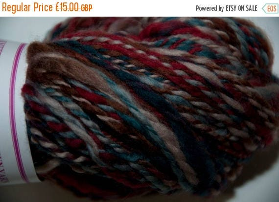 Christmas In July Merino Handspun Yarn in Shades of Red, Brown and Green 95g/210yds
