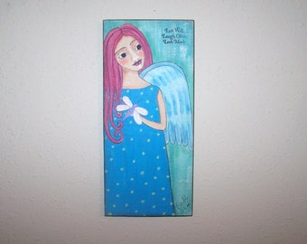 Angel Painting with dragonfly Inspirational Folk Art Painting Live Well, laugh often, Love much