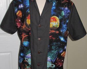 Large Planet print Men's bowling shirt