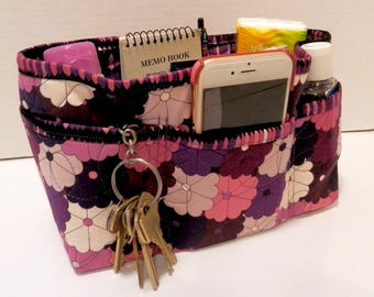 "Purse Organizer Insert/Enclosed Bottom  4"" Depth/ Purple and shades of Plum"