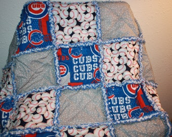 Baby rag quilt, blanket, throw, made with cubs fabric, flannel, baby gift, baseball quilt, blanket, throw