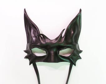 Black Cat Leather Mask costume New Years Mardi Gras great for both average or smaller size faces very lightweight and easy to wear