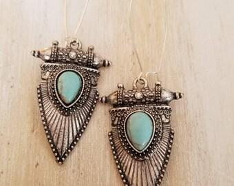 Turquoise earrings, tribal earrings, dangle earrings, long earrings, boho jewelry, statement earrings, mothers day gift mom gifts