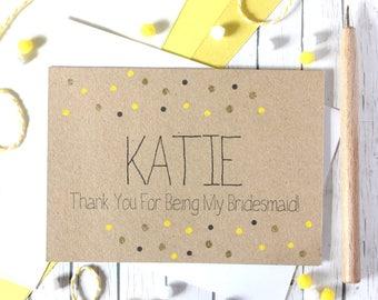 Personalised Bridesmaid Card. Bridesmaid Thank You Card. Thank You for being my Bridesmaid. Bridesmaid Thanks. Bridesmaid Card.
