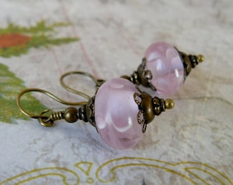 Pink Earrings, Lampwork Glass Bead Dangles, Boho Vintage Pink and Brass Earrings, Victorian Inspired Jewelry