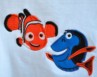 Nemo and Dory appliques on toddler shirt with name monogram available