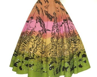Repro Cotton Full Circle Skirt with Sequins / Screened Scenics in Black on Sherbet Colored Banded Skirt / Dance Skirt