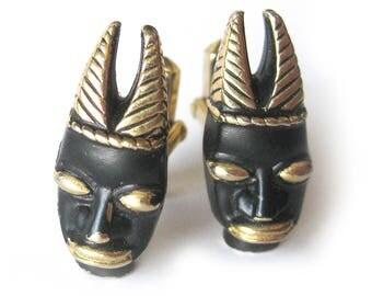 1950s Men's Cuff Links / Ubangi Warrior / Tiki Masks / African Tribal Masks / Gold and Black / Rare Swank Cufflinks / Groom Jewelry Wedding