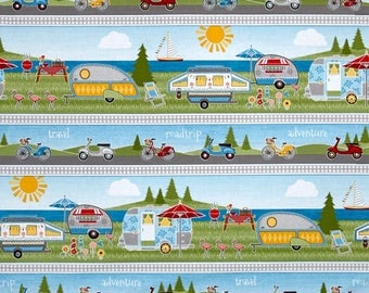 New ~ Let's Go Glamping Repeating Stripe Multi ~ Anne Rowan for Wilmington Prints, Quilt Cotton