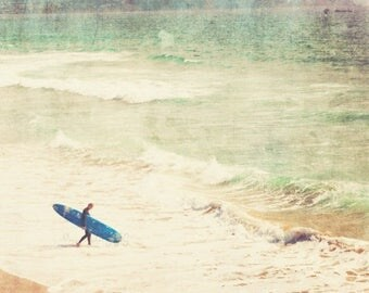 SALE surfer photo, beach cottage decor, for him, boys room decor, blue green wall art, beach photography, dorm, 20x20 8x8 art print, surfing