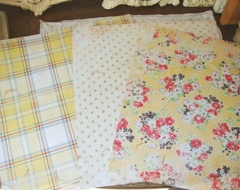 Floral Scrapbook paper pack 12x12 floral Shabby cottage Chic yellow floral Scrapbooking Paper crafting supplies Yellow