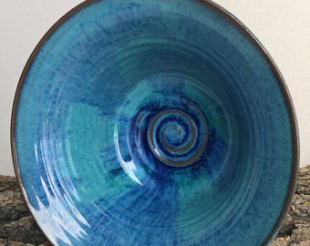 Turquoise and blue serving bowl