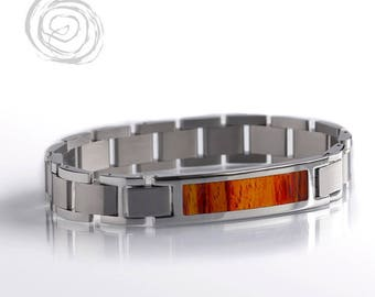 Tulipwood Bracelet, Vibrant Wood Bracelet Set, Interchangeable Bracelet, Modular Jewelry