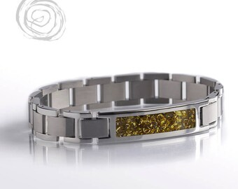 Yellow Gold Inlay Bracelet, Stainless Steel With Gold Shavings, Bracelet Set, Interchangeable Jewelry