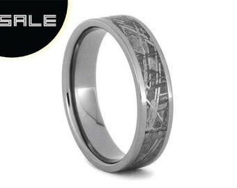 SALE - Custom Made Meteorite Wedding Band, Titanium Ring, Meteorite Ring For Men or Women